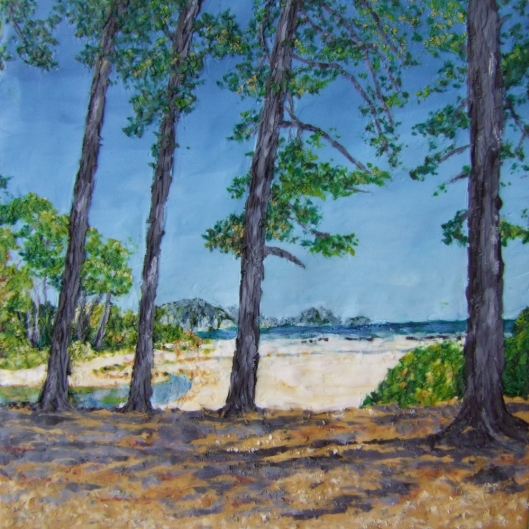 painting of beach and trees