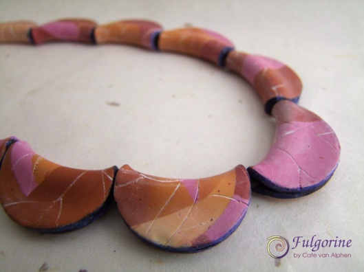 Autumn leaf polymer clay beads by Cate van Alphen