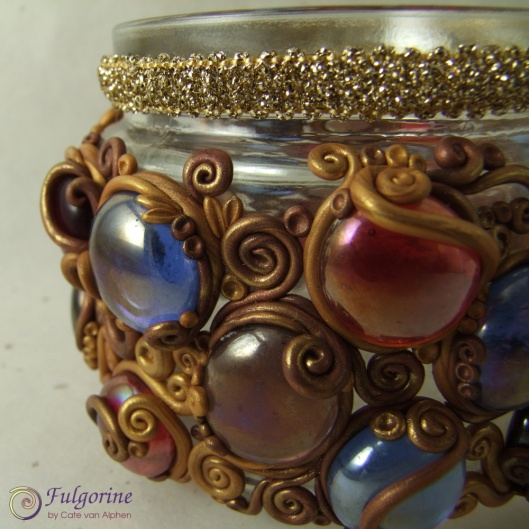 Glass and polymer clay lantern detail